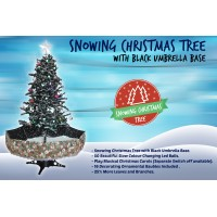 Snowing Christmas Trees | Musical Cascading Falling Snow Tree | Black Umbrella Base| 1.7 Meter high