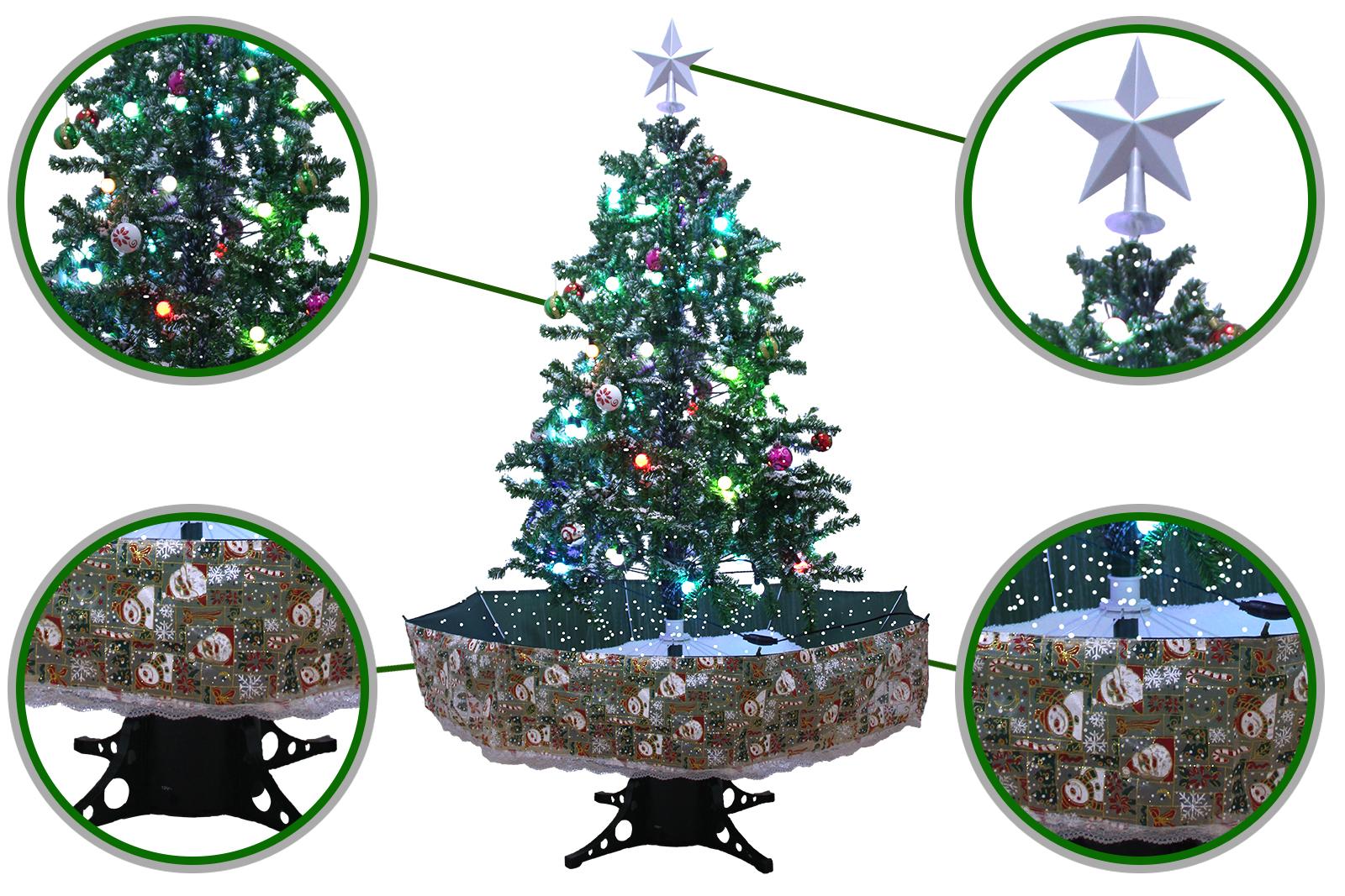 Umbrella Christmas Tree Uk.Snowing Christmas Trees Musical Cascading Falling Snow Tree Green Umbrella Base 1 7 Meter High