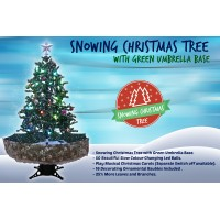 Snowing Christmas Trees | Musical Cascading Falling Snow Tree | Green Umbrella Base| 1.7 Meter high