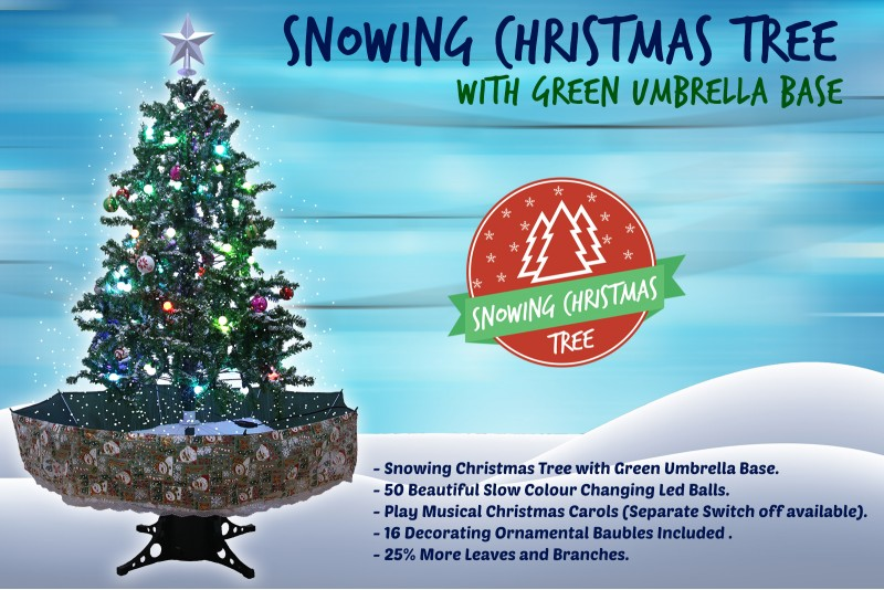 Snowing Christmas Trees | Musical Cascading Falling Snow Tree | Green Umbrella Base| 1.7 Meter high