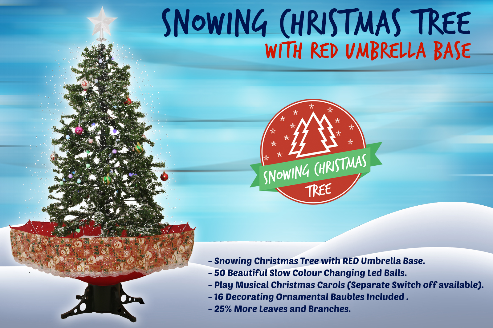 Christmas Tree Snow.Snowing Christmas Trees Musical Cascading Falling Snow Tree Red Umbrella Base 1 7 Meter High