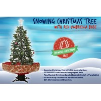 Snowing Christmas Trees | Musical Cascading Falling Snow Tree | Red Umbrella Base| 1.7 Meter high