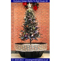 Snowing Christmas Tree - Black Flower Pot Base With Beautiful White Patterned Skirt - 2015