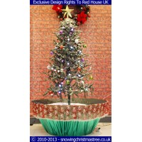 Snowing Christmas Tree - Green flower Pot Base With Beautiful Red Patterned Skirt - 2015