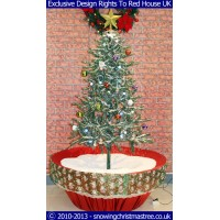 Snowing Christmas Tree - Artificial Snowfall - Red Umbrella Base - Beautiful White Patterned Skirt