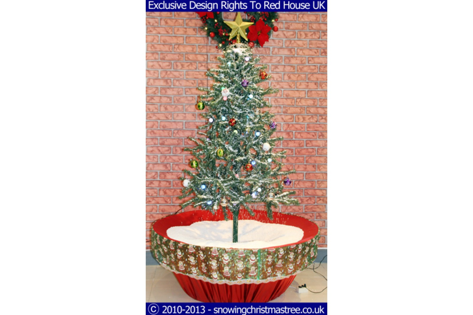 snowing christmas tree red flower pot base with beautiful white patterned skirt 2015