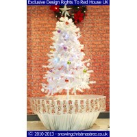 Snowing Christmas Tree - White/Silver Flower Pot Base With Beautiful White Patterned Skirt - 2015
