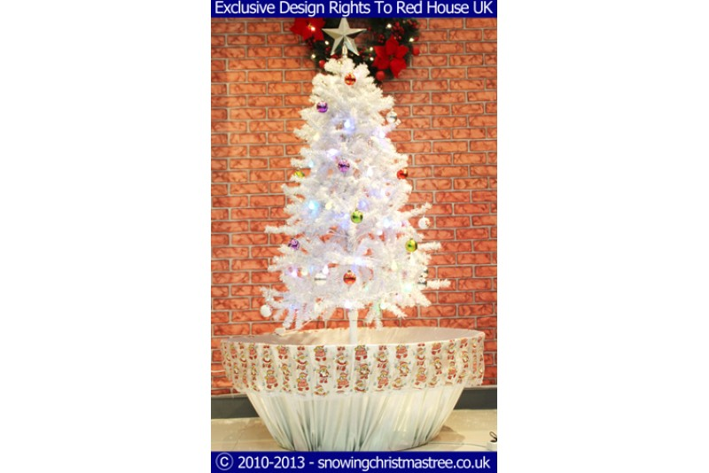 Snowing Christmas Tree - Artificial Snowfall - White/Silver Umbrella Base - Beautiful White Patterned Skirt