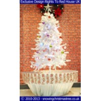 Snowing Christmas Tree With White Umbrella Base | Snow Falling Christmas Tree With Christmas Decorations | Artificial Snowing Christmas Tree | Snow Cascading Christmas Tree