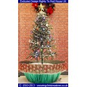 Snowing Christmas Tree - Artificial Snowfall - Green Umbrella Base - Beautiful Red Patterned Skirt