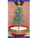 Snowing Christmas Tree - Red Flower Pot Base With Beautiful White Patterned Skirt - 2015