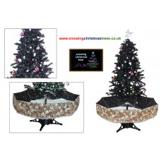 Snowing Christmas Tree With Black Umbrella Base | Snow Falling Christmas Tree With Christmas Decorations | Artificial Snowing Christmas Tree | Snow Cascading Christmas Tree