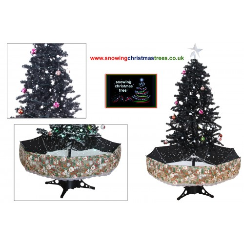 snowing christmas tree with black umbrella base snow falling christmas tree with christmas decorations