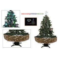 Snowing Christmas Tree With Green Umbrella Base | Snow Falling Christmas Tree With Christmas Decorations | Artificial Snowing Christmas Tree | Snow Cascading Christmas Tree