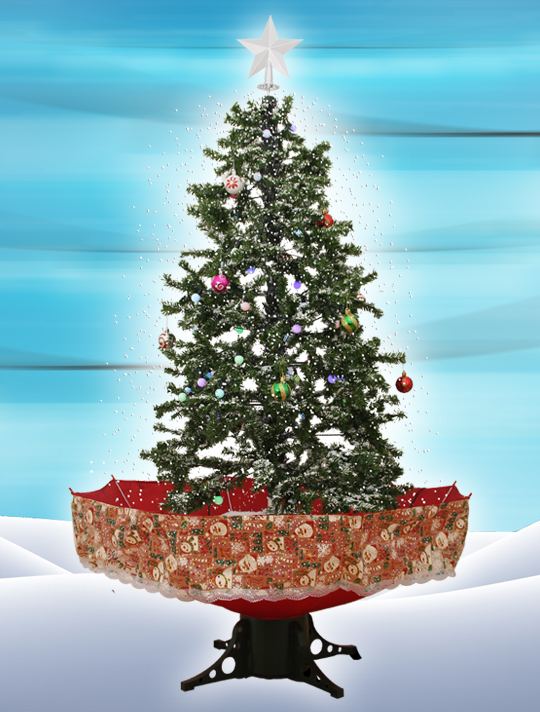 the snowing christmas tree red umbrella base